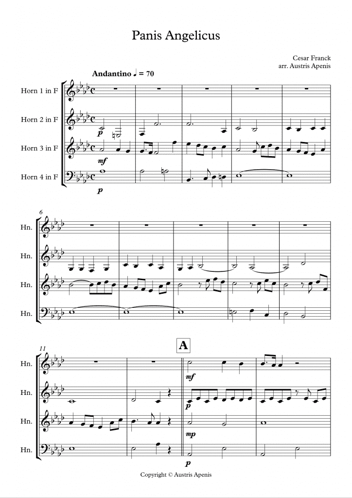 cesar franck panis angelicus horn quartet page 1